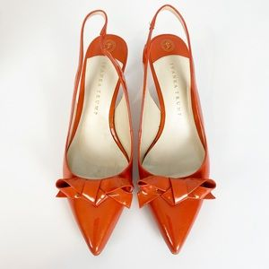 Ivanka Trump Coral Slingback Heels with Bow 10.5
